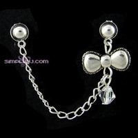 Silver Bow Crystal Cartilage Double Piercing Earring