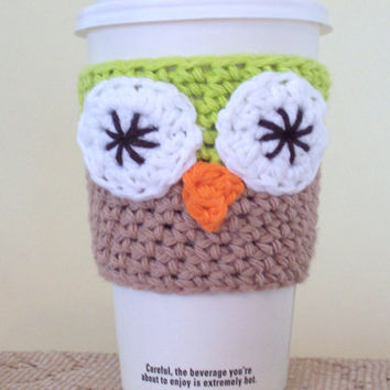Owl Coffee Cozy / Crochet Cotton Cup Sleeve by amieq on Etsy