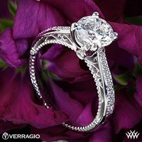 18k White Gold Verragio 4 Prong Beaded Diamond Engagement Ring