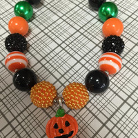 Girls Jewelry/Toddler/Baby/Necklace/Chunky Necklace/Bubble Gum Beads/Halloween/Pumpkin/Gift Giving/Christmas Gift