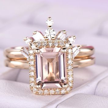 Emerald Cut Morganite Engagement Ring Sets Baguette/Round Diamond Tiara Band 14K Yellow Gold 6x8mm