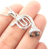 3D Miniature Musical Instrument French Horn Shaped Pendant Necklace in Silver