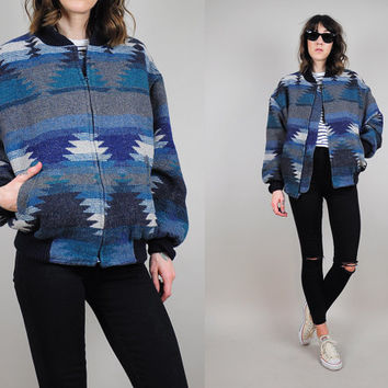 vtg Southwestern NAVAJO 80's Indian Blanket woven jacket native Geometric Aztec bomber coat Unisex