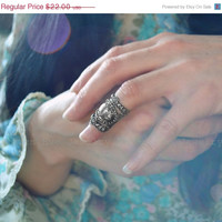 ON SALE Baroque Knuckle Armor Ring Ornate Filigree Limited Edition Antique Silver One Ring