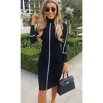 Your Decision Long Sleeve Mock Neck Contrast Piping Bodycon Midi Dress - 6 Colors Available