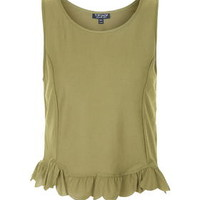 Scallop Frill Tank Top - Green