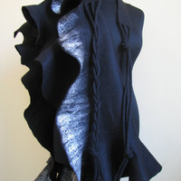 Handmade wool felted scarf Shawl  Black and silver by ProninA