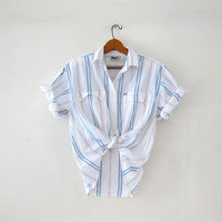 Vintage striped cotton shirt. Light blue pink & white shirt. Short sleeve shirt. Preppy button up shirt.