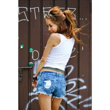 ICIKKFQ Summer Women Fashion Hollow Out Shorts Denim Shorts Jeans Hole Sexy Low Waist Ladies Shorts