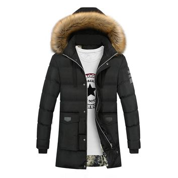Long Thick Warm Fur Collar Hooded Winter Jacket For Man Multi Colors