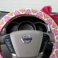 The Original Burnished Orange and Pink Damask Steering Wheel Cover with Matching Bright Brink Pink Bow