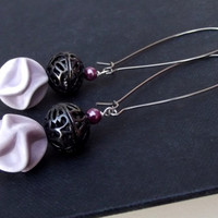 Purple Beaded Earrings: Radiant Orchid Lavender and Black Dangle Earrings, Long Earrings
