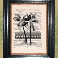 Sunset Palm Tree Scene Art Print - Vintage Dictionary Book Page Art Print Upcycled Page Art Collage Print Wall Art