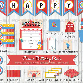 Circus Themed Birthday, Printable Party Pack, DIY, Banner, Invitation, Favors, Cupcake Toppers, Decorations, Ringmaster, Clown, Carnival