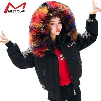2017 Large Colorful Fur Hooded Winter Bomber Jackets Women Coats Female Cotton Padded Parkas Girl jaqueta feminina inverno Y1429