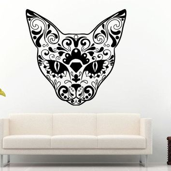 Art Home Decor Sugar Skull Design Animal Cat Head Halloween Wall Decal Vinyl Sticker Mural Room Decor Removable Art Murals M-46