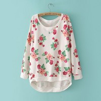 Oversize Rose Print Sweater Shirt White