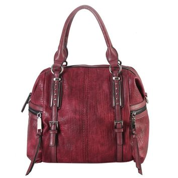 Diophy Faux Leather 2-buckle Studded Tote Bag | Overstock.com Shopping - The Best Deals on Tote Bags