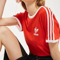 Charmvip | adidas Originals Red Three Stripe T-Shirt