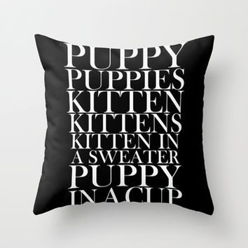 Puppies and Kittens Throw Pillow by Sara Eshak