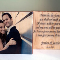 Customized Wedding Quote and Photo Set on Solid Wood, Anniversary Gift, Home Decor, Wedding Song, Lyrics, Date, Wedding Photo Block, Vows
