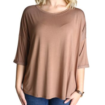 Mocha Piko Loose Sleeve Top
