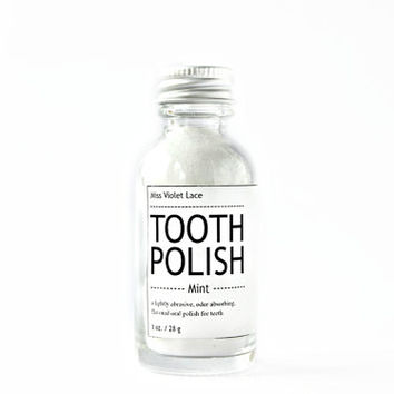 mint TOOTH POWDER. vegan tooth polish - mint
