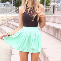 Lace Accent Sleeveless Mini Skater Dress