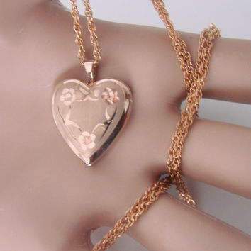 60s Vintage 14K Gold Filled Heart Locket Pendant Necklace PPC Designer Signed / Floral Etching / Jewelry / Jewellery