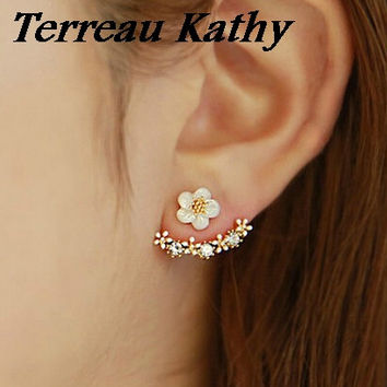 Terreau Kathy BK 2016 New Fashion Crystal Jewelry Small Daisy Flower Gold Silver Plated Stud Earrings For Women