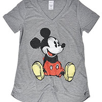Disney Juniors Minnie and Mickey Mouse V-Neck Jersey T-Shirt (Gray Mickey Paint, X-Large)