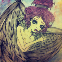 Fallen Angel watercolor painting by KristaRaeArt on Etsy