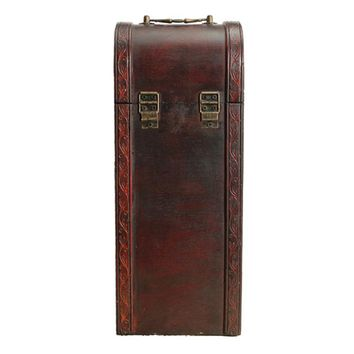 Retro Style Wood Wine Box Single Bottle Vintage Case Classic Storage Crate Wine