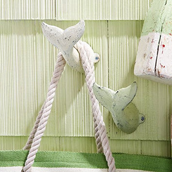 Oversized Whale Tail Wall Hooks - Set of 2 - Antique Weathered Hangers  White and Sea Foam