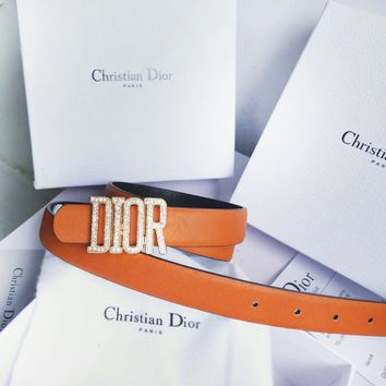 DIOR Fashion New Diamond Letter Buckle Leather Leisure Belt Women Brown