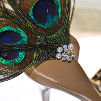 Peacock Shoe Clip Two Eye Feathers Bridal Bridesmaids Something Blue Cocktail Formal Wedding