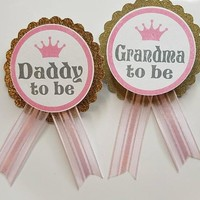 Princess Baby Shower Pin, Posh Pink Baby Shower pin for dad to be to wear at Baby Shower or Baby Sprinkle, with a Rhinestone Pin Storybook