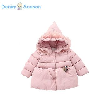 Denim Season casaco infantil Winter Party Princess Girl Fur Thicken Baby Coat Hooded Solid Cashmere Soft Warm 0-3T Baby Clothing