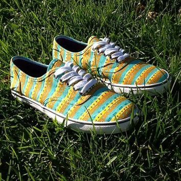 Custom painted tribal vans-style shoes