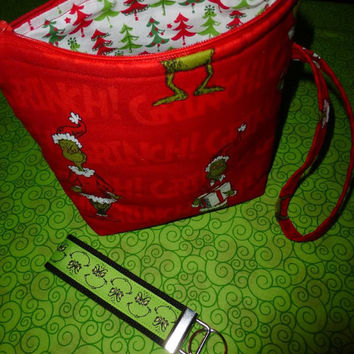 Grinch Wristlet Handbag Purse Cosmetic Bag Handmade Custom Designs by Sugarbear Original GRINCHLET Bag with Grinch Key FOB Beautiful Gift !