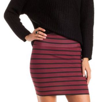 Dark Purple Combo Striped Bodycon Mini Skirt by Charlotte Russe