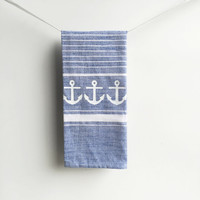 Anchor Nautical Kitchen Dish Towel - Tea Towel - Blue and white - Stripes Turkish style, Decor Kitchenware Cooking Sailor Sailing, Beach Sea
