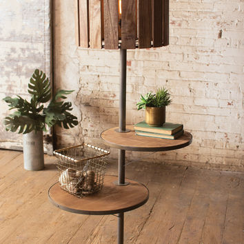 Kalalou Wood and Metal Floor Lamp with Rotating Shelves CQ6865
