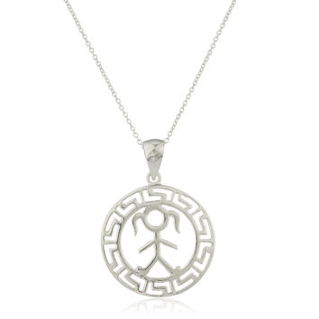 Ladies 925 Sterling Silver Female Figure Greek Key Design Pendant with an 18 Inch Link Necklace