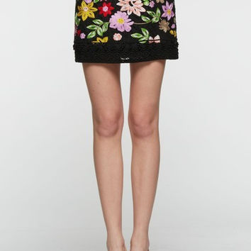 Black Embroidery Floral Mini