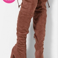 Antibes Mocha Suedette Over The Knee Boots