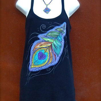 Black TANK PEACOCK FEATHER tank top hand painted clothes bohemian clothing Cotton tank top Women tank size L applique