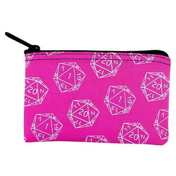 D20 Gamer Critical Hit and Fumble Pink Pattern Dice Pouch
