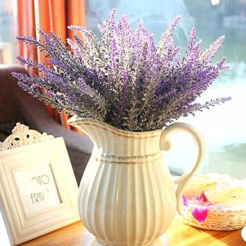 1pcs Provence lavender flower silk tomentum artificial flowers grain decorative fake flores bouquet Simulation of aquatic plan