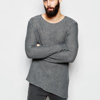 River Island Asymetric Ribbed Tunic Jumper at asos.com